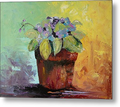 Metal Print featuring the painting African Violet by Carol Berning