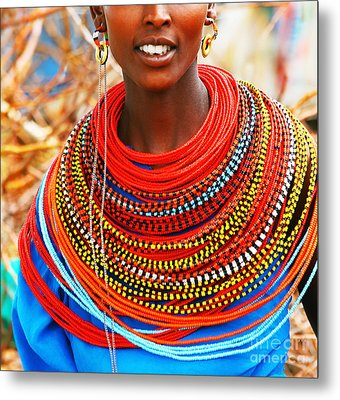 African Woman With Traditional Accessories Metal Print by Anna Om