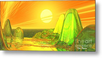 Metal Print featuring the digital art Green Crystal Hills by Kim Prowse