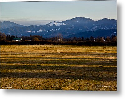 Afternoon Shadows Across A Rogue Valley Farm Metal Print by Mick Anderson