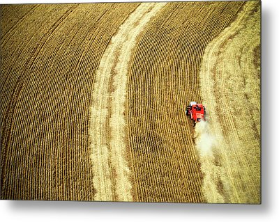 Agricultural Harvesting Maize Metal Print by Marcos Alves