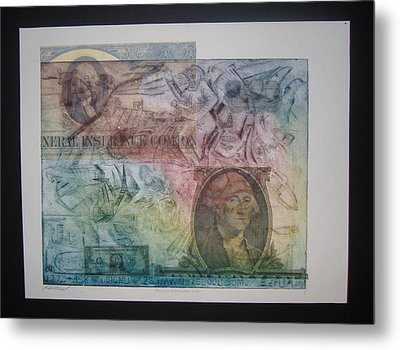Aig The Dollar And George Compared Metal Print by John  Schwind