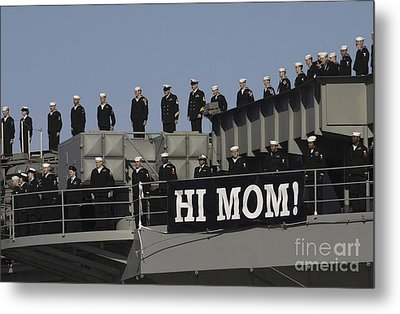 Ailors And Marines Man The Rails Aboard Metal Print by Stocktrek Images
