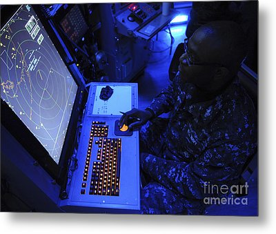 Air-traffic Controller Tracks Incoming Metal Print