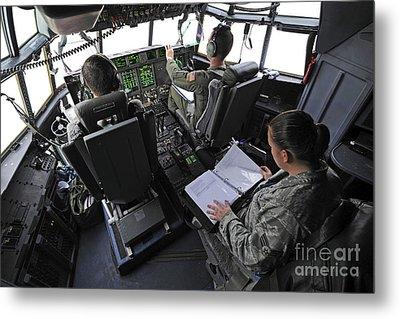 Aircrew Perform Preflight Checklists Metal Print by Stocktrek Images