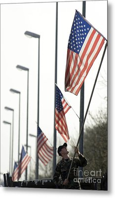 Airman Posts A New Flag On The Main Metal Print by Stocktrek Images