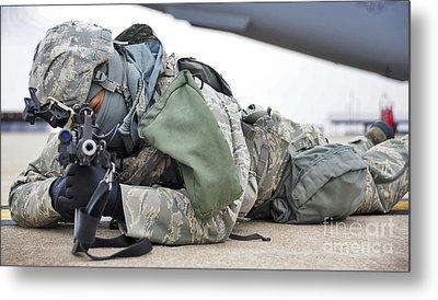 Airman Provides Security At Whiteman Metal Print by Stocktrek Images