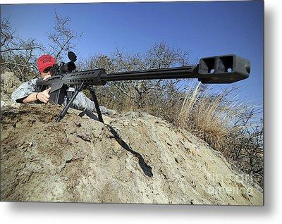 Airman Sights A .50 Caliber Sniper Metal Print by Stocktrek Images