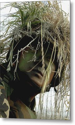 Airman Wearing A Ghillie Suit Metal Print by Stocktrek Images