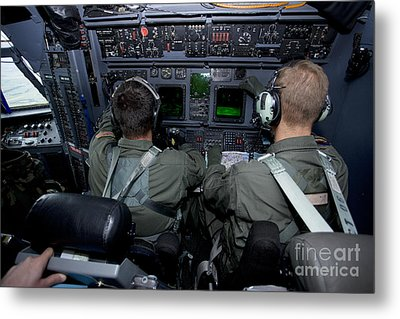 Airmen At Work In A Mc-130h Combat Metal Print