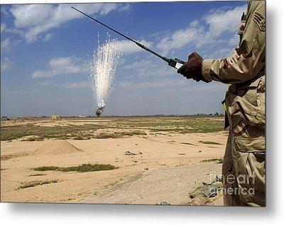 Airmen Conduct A Controlled Detonation Metal Print by Stocktrek Images