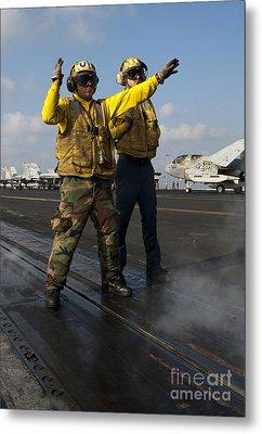 Airmen Direct An Fa-18c Hornet Metal Print by Stocktrek Images