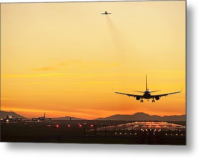 Airport At Sunset Metal Print
