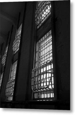Alcatraz Federal Penitentiary Cell House Barred Windows Metal Print by Daniel Hagerman