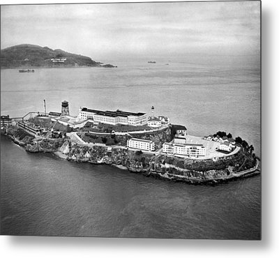 Alcatraz Island And Prison Metal Print by Underwood Archives