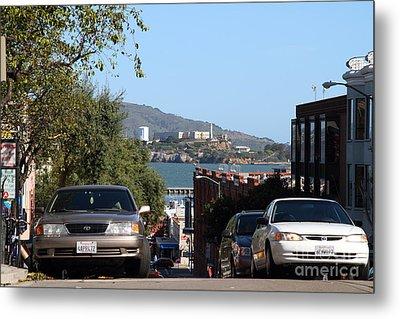 Alcatraz Island Through The Hyde Street Pier In San Francisco California . 7d13973 Metal Print