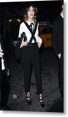 Alexa Chung Wearing A 3.1 Phillip Lim Metal Print by Everett