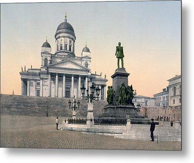 Alexander II Memorial At Senate Square In Helsinki Finland Metal Print by International  Images