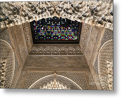 Alhambra Stained Glass Detail Metal Print by Jane Rix