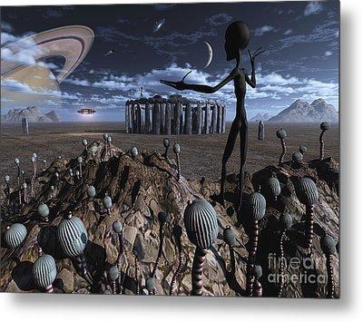 Alien Explorers On An Alien World Metal Print by Mark Stevenson