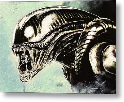 Metal Print featuring the drawing Alien by Jeff DOttavio