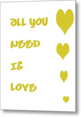 All You Need Is Love - Yellow Metal Print by Georgia Fowler