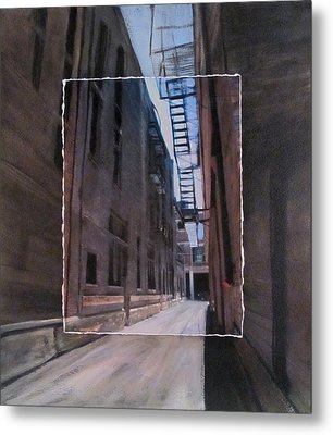 Alley With Fire Escape Layered Metal Print by Anita Burgermeister