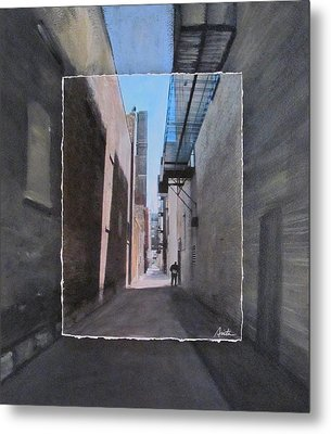 Alley With Guy Reading Layered Metal Print by Anita Burgermeister