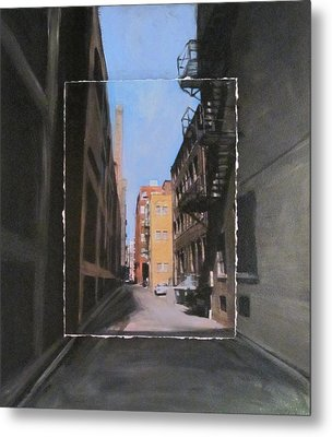 Alley With Red And Tan Buildings Layered Metal Print by Anita Burgermeister