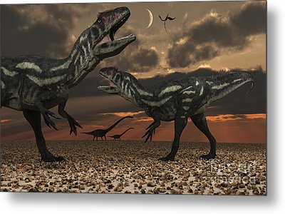 Allosaurus Dinosaurs Stalk Their Next Metal Print by Mark Stevenson