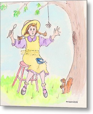 Along Came A Spider Little Miss Muffet Metal Print by Marybeth Friel-Patton