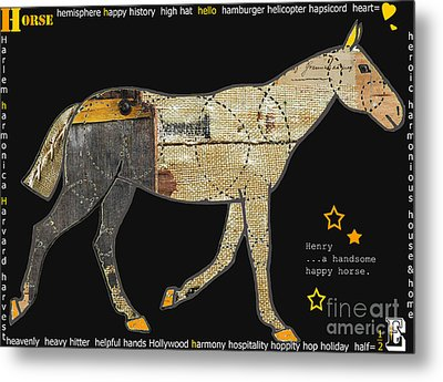 Alphabet Horse Juvenile Licensing Art Metal Print by Anahi DeCanio
