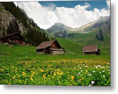 Alpine Huts - Switzerland Metal Print by Kitty Bern