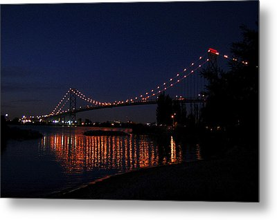 Ambassador Bridge At Night Metal Print