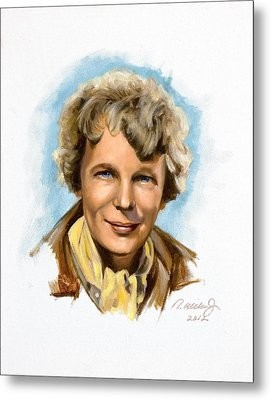 Amelia Earhart Metal Print