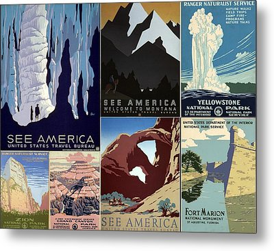 America The Beautiful Vintage Posters Collage Metal Print