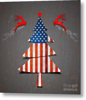 America X'mas Tree Metal Print by Atiketta Sangasaeng