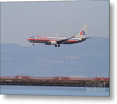 American Airlines Jet Airplane At San Francisco International Airport Sfo . 7d12212 Metal Print by Wingsdomain Art and Photography