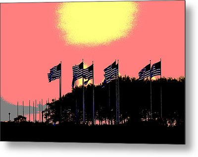 Metal Print featuring the photograph American Flags1 by Zawhaus Photography
