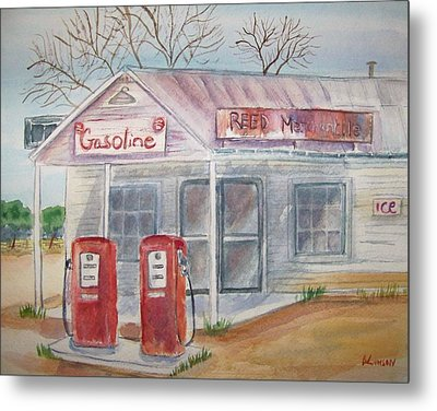 American Gas Station Metal Print by Belinda Lawson