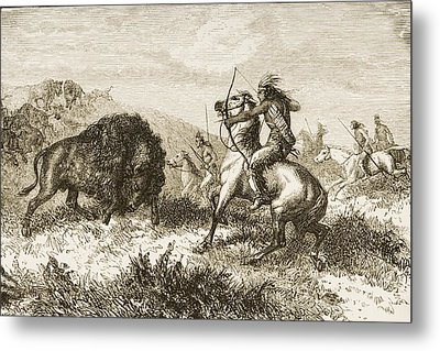 American Indians Buffalo Hunting. From Metal Print by Ken Welsh