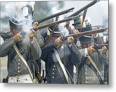American Infantry Firing Metal Print by JT Lewis