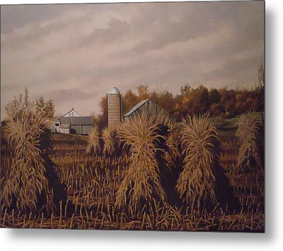 Amish Farm In Autumn Metal Print by James Guentner