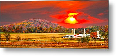 Amish Farm Sundown Metal Print by Randall Branham
