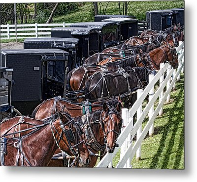 Amish Parking Lot Metal Print by Tom Mc Nemar