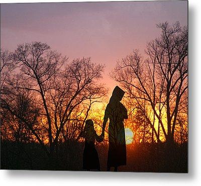 Amish Sisters Metal Print