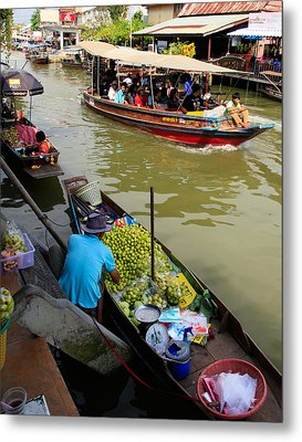 Ampawa Floating Market Metal Print by Adrian Evans