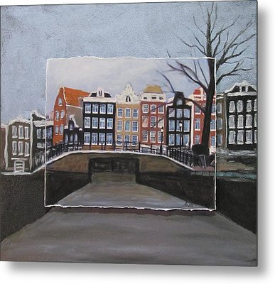 Amsterdam Bridge Layered Metal Print by Anita Burgermeister