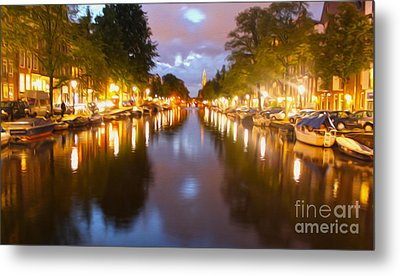 Amsterdam Canal At Night Metal Print by Gregory Dyer