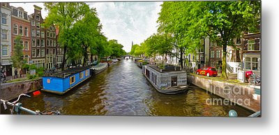 Amsterdam Canal Panorama Metal Print by Gregory Dyer
